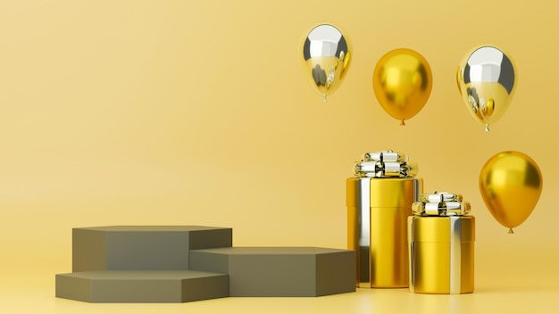 Affiche en ligne de luxe avec trois couches de coffrets cadeaux et de ballons en or sur fond jaune