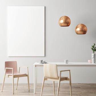 Affiche de maquette dans les meubles de la salle à manger et la décoration de la maison