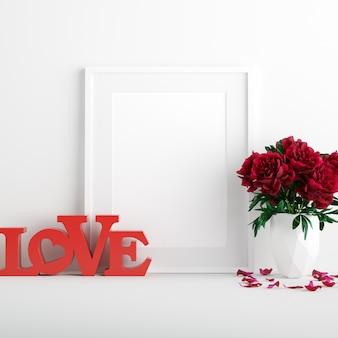 Affiche maquette avec des fleurs roses rouges dans un vase blanc et un signe d'amour rouge pour la saint-valentin