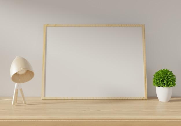 Affiche de la maquette sur fond de mur blanc. rendu 3d.
