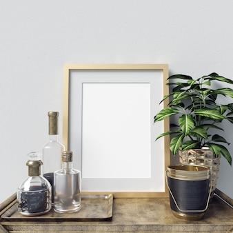 Affiche maquette intérieur avec des bouteilles décoration et des plantes