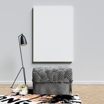 Affiche mockup intérieur avec sièges et décoration de lampe