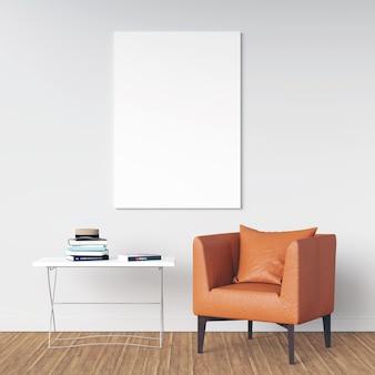 Affiche mockup intérieur avec sièges et décoration