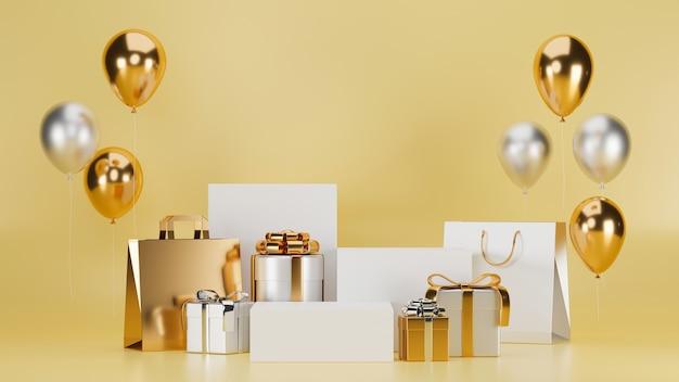 Affiche nouvel an piédestal pour marchandises avec ballon d'or boîte cadeau sac à provisions beige en arrière-plan