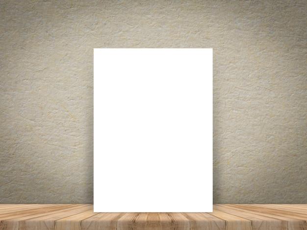 Affiche de papier blanc vierge au plancher et mur en bois de planche tropicale.