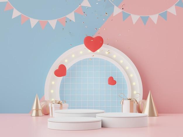 Affiche le podium avec un joli fond de coeur pour la saint-valentin