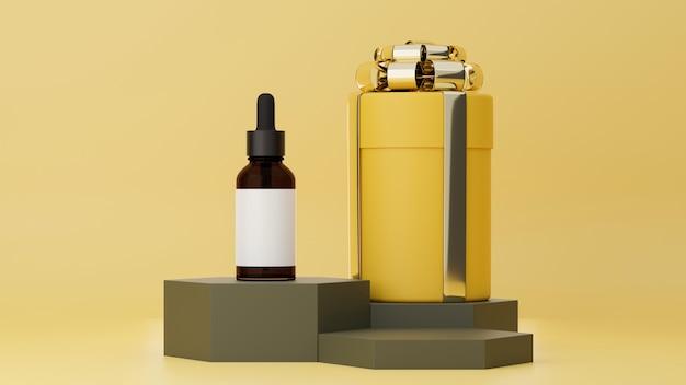 Affiche publicitaire sur les soins de la peau sur fond jaune pastel avec boîte-cadeau et bouteille en verre marron