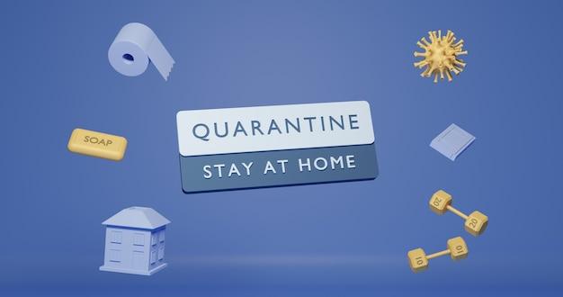 Affiche de quarantaine 6k conception d'affiche en rendu 3d