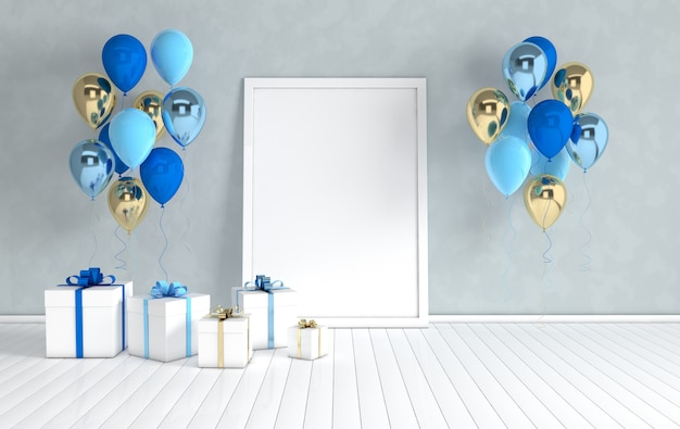 Affiche réaliste de boîte-cadeau de ballons or et bleus