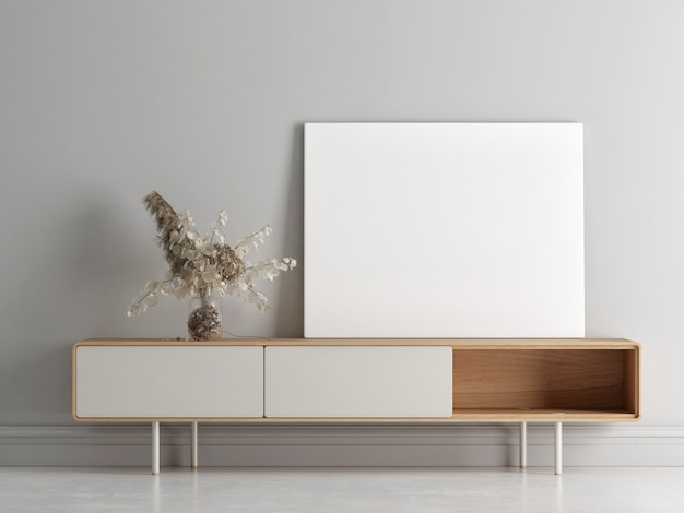 Affiche vide sur la composition minimale de tiroirs en bois avec décoration