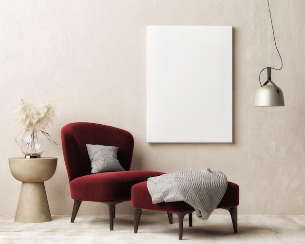 Affiche vide intérieure de maison de maquette moderne pour la présentation salon avec décor à la maison