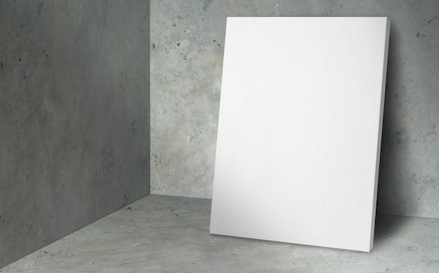 Affiche vierge au coin studio avec fond de mur et sol en béton