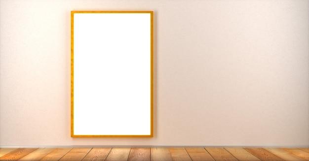 Une affiche vierge dans un cadre est accrochée au mur dans une pièce sur le côté gauche du cadre. maquette. rendu 3d.
