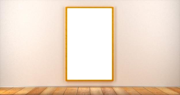 Une affiche vierge dans un cadre est accrochée au mur d'une pièce. maquette. rendu 3d.