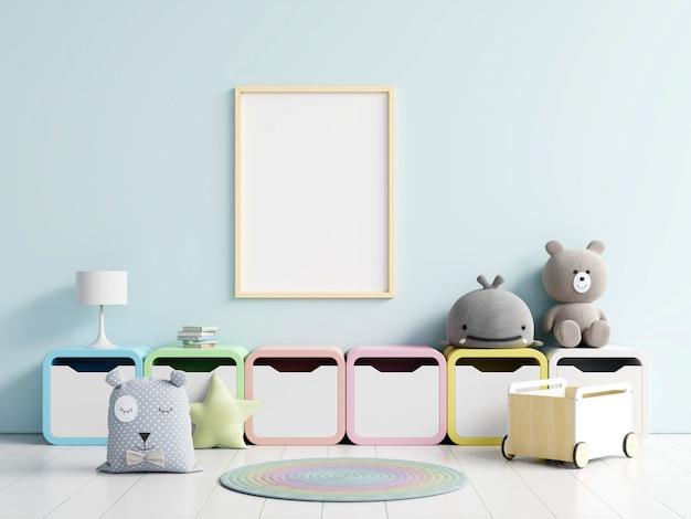 Affiche vierge avec des jouets et des boîtes.