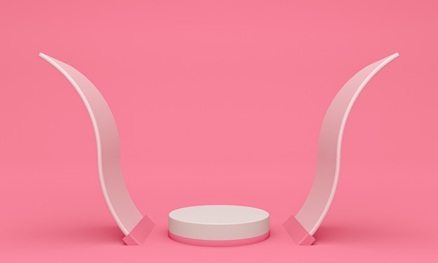 Afficher l'arrière-plan pour la présentation des produits cosmétiques, podiums cylindriques en fond rose
