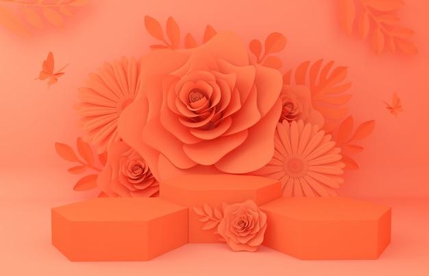 Afficher le fond pour la présentation du produit cosmétique. vitrine vide, rendu 3d illustration papier fleur.