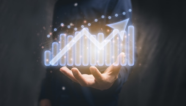 Afficher le graphique investissement jouer illustration de croissance d'entreprise stock