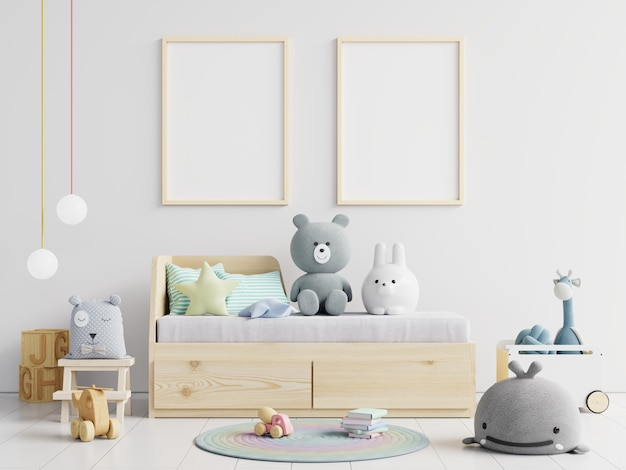 Affiches vierges avec lit enfant