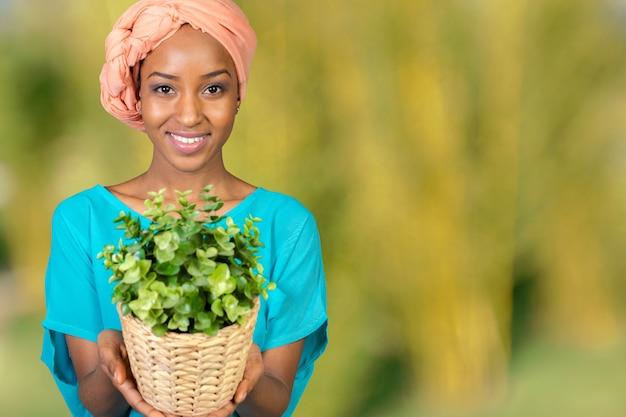Africaine, femme, tenue, plante, dans, vase