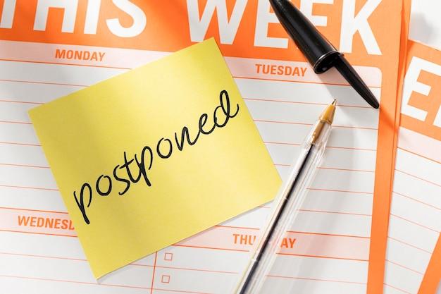 Agenda de la semaine avec message reporté