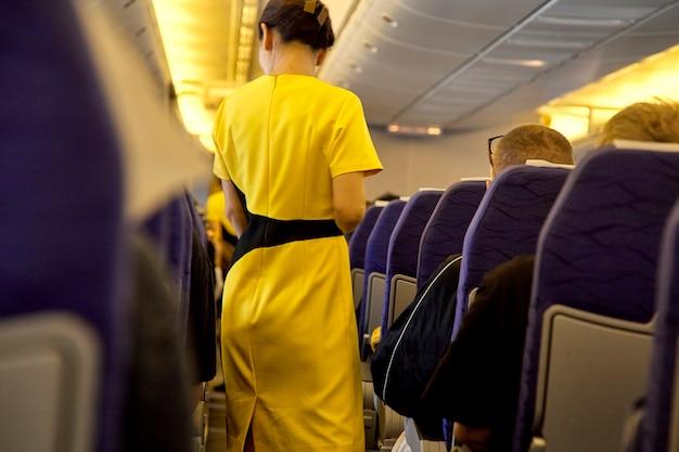 Agents de bord flous, hôtesse de l'air
