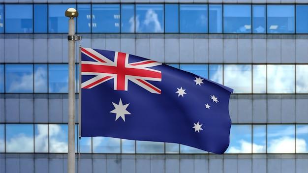 Agitant le drapeau australien sur la ville moderne de gratte-ciel