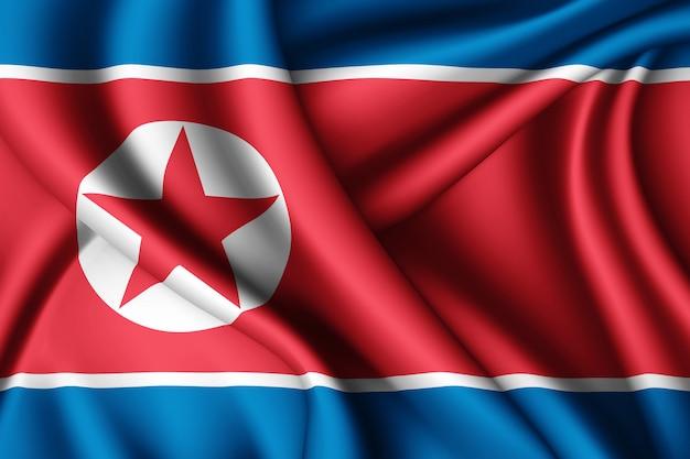 Agitant le drapeau de la corée du nord en soie