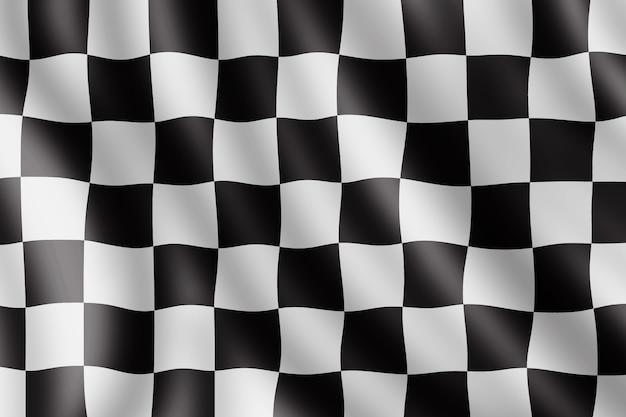 Agitant le drapeau à damier, illustration réaliste