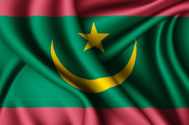 Agitant le drapeau de la mauritanie en soie