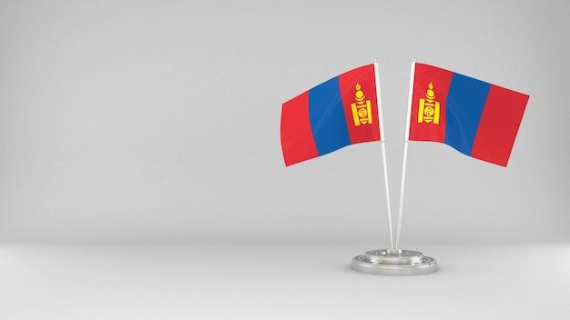 Agitant le drapeau de la mongolie fond de rendu 3d