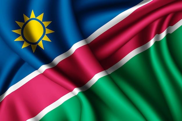 Agitant le drapeau de la namibie en soie