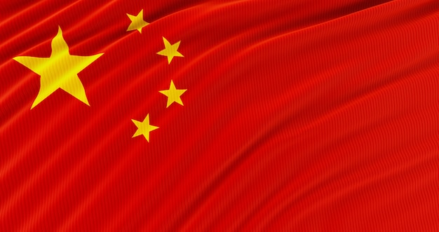 Agitant le drapeau national coloré de la chine, étonnant drapeau de la chine, rendu .3d