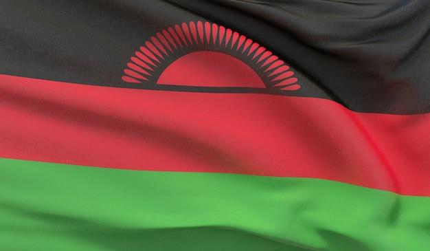 Agitant le drapeau national du malawi. rendu 3d en gros plan très détaillé.