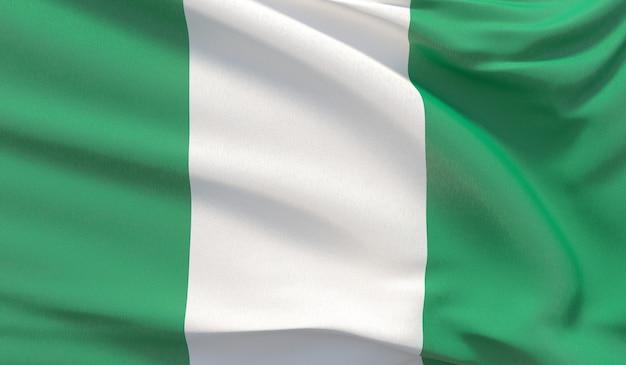Agitant le drapeau national du nigéria. rendu 3d en gros plan très détaillé.