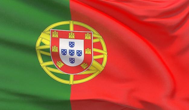 Agitant le drapeau national du portugal. rendu 3d en gros plan très détaillé.