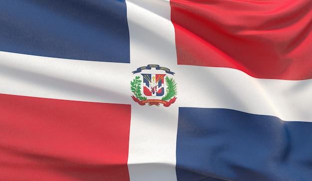 Agitant le drapeau national de la république dominicaine. rendu 3d en gros plan très détaillé.