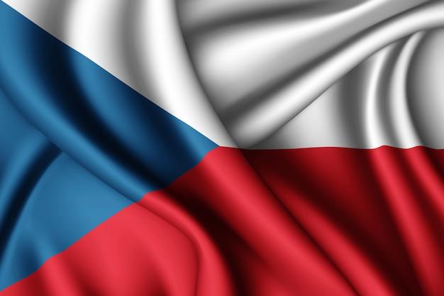 Agitant le drapeau de la république tchèque