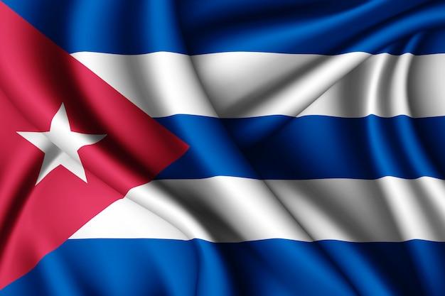 Agitant le drapeau de la soie de cuba