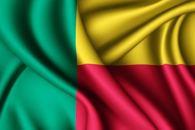 Agitant le drapeau de la soie du bénin