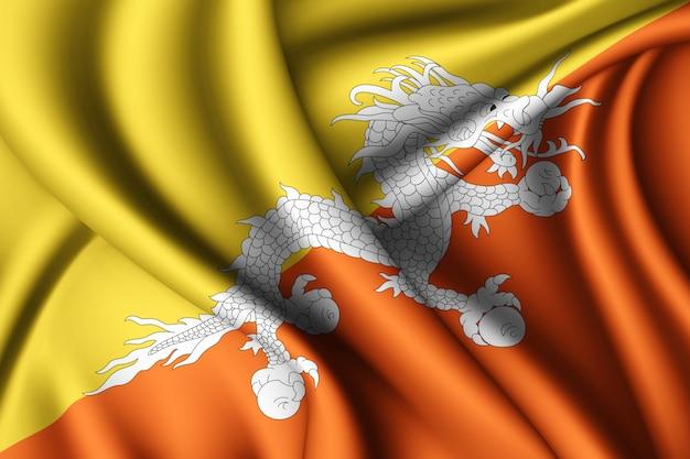 Agitant le drapeau de la soie du bhoutan