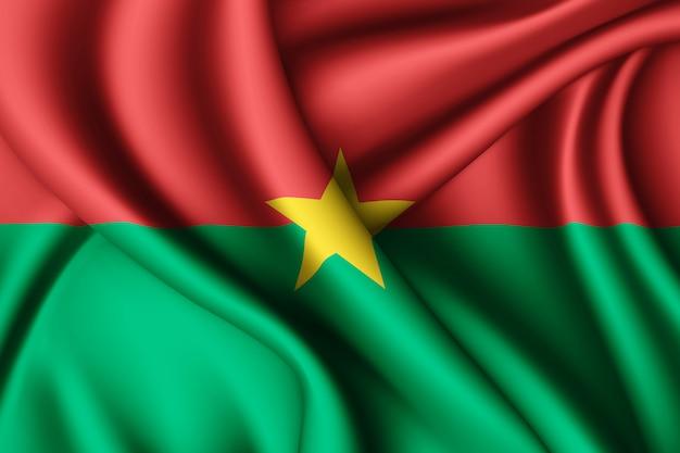 Agitant le drapeau de la soie du burkina faso
