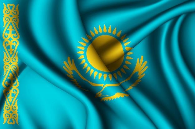 Agitant le drapeau de la soie du kazakhstan