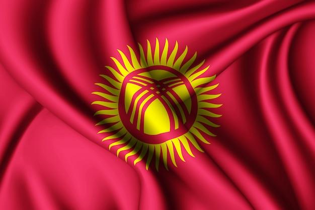 Agitant le drapeau de la soie du kirghizistan