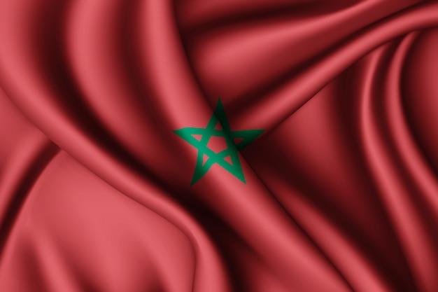 Agitant le drapeau en soie du maroc