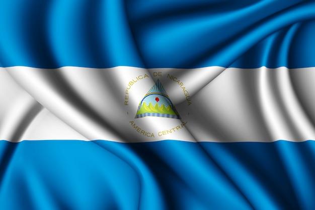 Agitant le drapeau de la soie du nicaragua