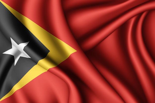 Agitant le drapeau de la soie du timor oriental