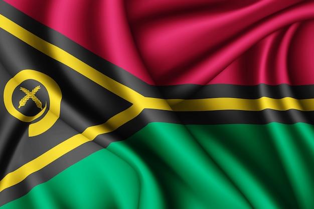 Agitant le drapeau de la soie du vanuatu