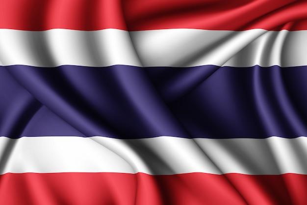 Agitant le drapeau de la soie de la thaïlande