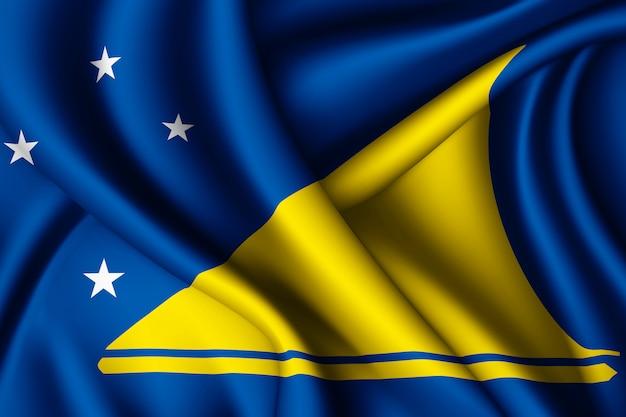 Agitant le drapeau de la soie des tokélaou